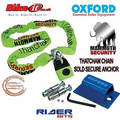 Thatcham Motorcycle Gold App 1.8M Chainlock-Oxford Soldsecure Floor Anchor Set