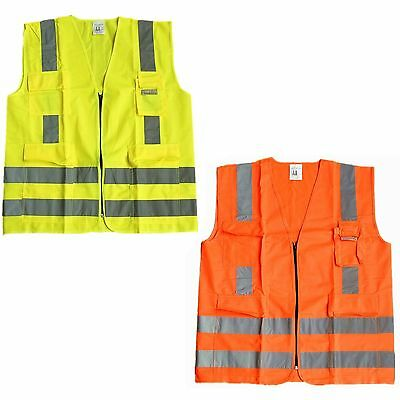 High Visibility Vis Jacket Vest with Pocket Zip Road Safety Security Waistcoat