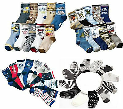 Boys Kids Children Toddlers 5Pack Ankle Sock Car Dinosaurs Age 1 2 3 4 5 6 7 8 9