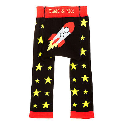 New Baby Boys Leggings from Blade and Rose - Black Space Rocket / stars