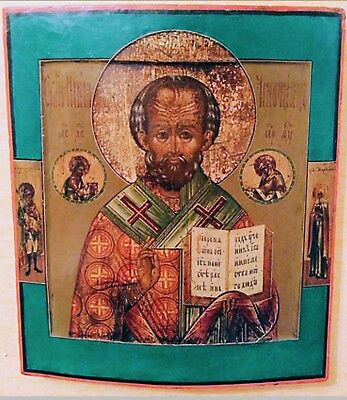 Antique 19C Russian Hand Painted Icon Of St.nicholas Kovcheg