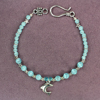 DOLPHIN TOTEM BRACELET Aqua Crystals Silver Catseye Porpoise Marine Animal Seal