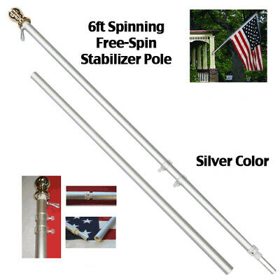 6ft Spinning Stabilizer Residential Flag Pole Silver Tone Gold Ball Top