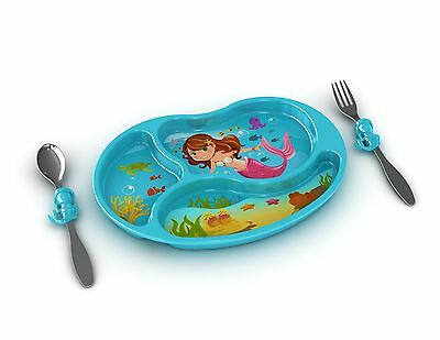 Childrens Mermaid Cutlery Set - Plate - Spoon - Fork - Boxed - Me Time Meal Set