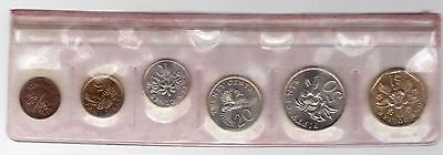 Singapore - 6 Dif Unc Coins Mint Set: 1 Cent - 1$ 1988 Year Of Dragon