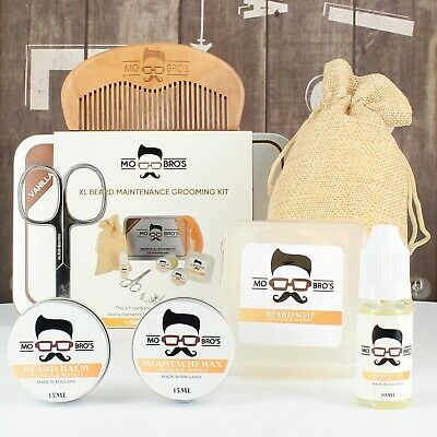 Mo Bro's XL 8 Piece Grooming Kit Inc Beard Oil, Balm, Wax, Soap, Scissors, Comb