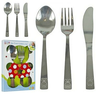 *New Childs 3pc Stainless Steel Cutlery Set. Knife, Fork and Spoon +12 Mths
