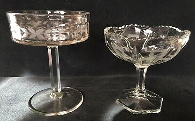 Pair 2 Clear Glass Open Compotes Pie Crust Edge Greek Key Needle Etched