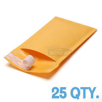 25 #000 Kraft Bubble Padded Envelopes Mailers 4 x 8