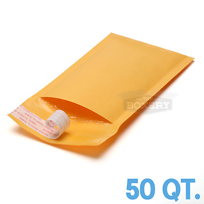 50 #00 Kraft Bubble Padded Envelopes Mailers 5 x 10 from TheBoxery