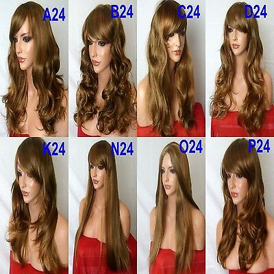 BROWN HIGHLIGHT AUBURN Long Wavy Straight Full Ladies Wig Fashion costume #27H12