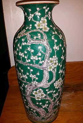 Antique Large CHINESE FAMILLE VERTE DECORATED PORCELAIN VASE Lamp