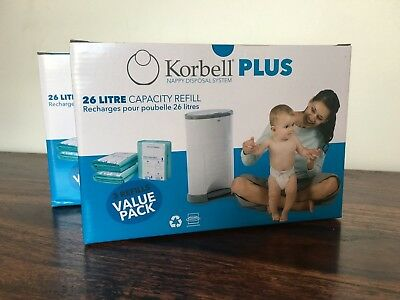 Korbell PLUS nappy / diaper bin refills (2 boxes = 6 refills) for 26L nappy bins