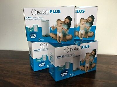 Korbell PLUS nappy/ diaper bin refills (4 boxes = 12 refills) for 26L nappy bins