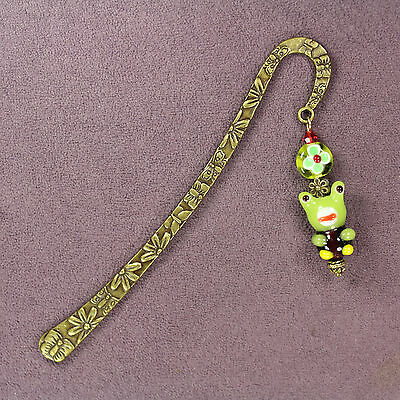 FROG TOTEM BOOKMARK 3D Lampwork Green Bronze Toad Animal Magick Butterfly Flower