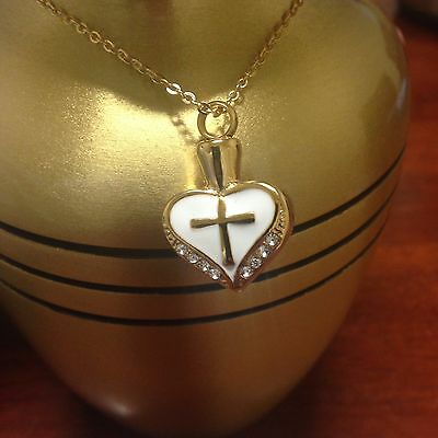 """Memorial Cremation Jewelry/Pendant/Urn/Keepsake for Ashes-""""Gold Heart with Cross"""