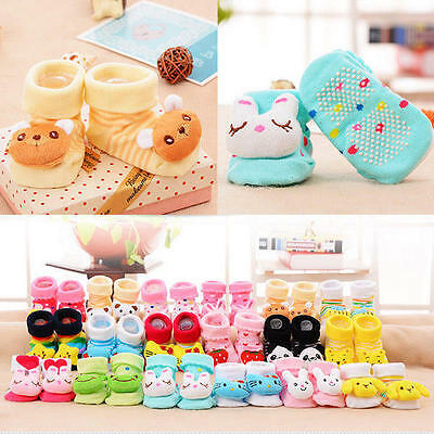 Baby Boy Girl Anti Slip Cotton Socks Boots Shoes Cartoon 0-12 Months Wondrous