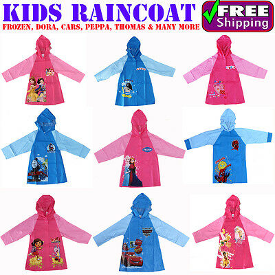 NEW Sz 3~8 GIRLS BOYS RAINCOAT PINK BLUE RAIN COAT DRESS JACKET FROZEN MINION