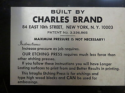"Etching Press built by Charles Brand, 22"" X 44"" press bed"