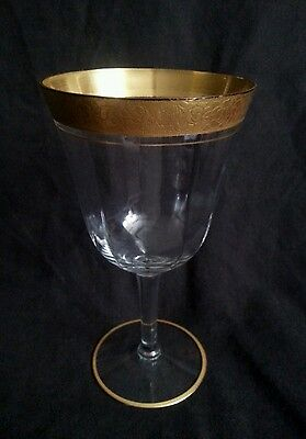 "Antique etched gilt rim Burgundy wine glass 6.75"" 1 PIECE (2 available)"