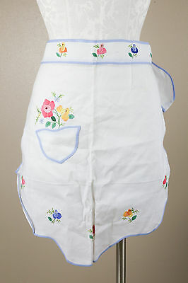 Vintage Apron Half Skirt White Embroidered Applique Flowers