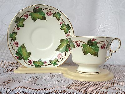 Adderley Vines/Leaves  Grapes Tea Cup & Saucer footed & gold rimmed (467)