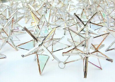 Lot of 25 !!  Stained Glass Moravian STARS Iridescent CLEAR Ornament ! Handmade!