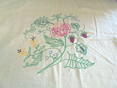 Vintage embroidery embroidered strawberries and pink flowers samplers chic decor