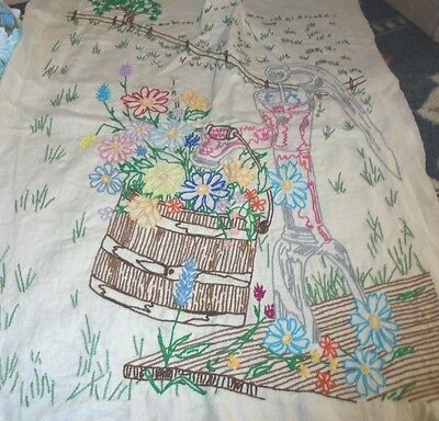 Cottage garden chic XL wishing well embroidery embroidered sampler wildflowers