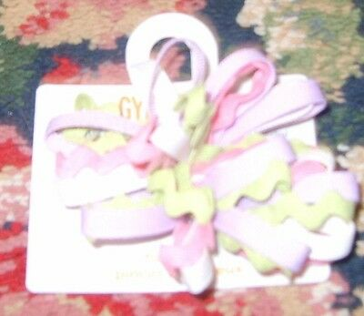 Birthday pink lavender green white barrettes PAIR Gymboree zig zags girl hair