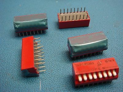 (5) 76Psb08S Grayhill 8 Position Dip Switch Switches Off On Spst Piano Leaded