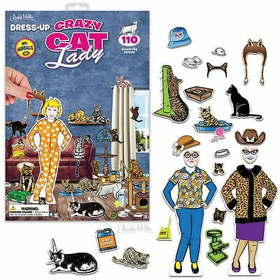 Dress-Up Crazy Cat Lady 110 Reusable Cling Stickers With Backdrop Archie McPhee