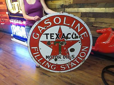"Texaco Filling Station Sign 42"" Porcelain Gas Oil Station Service Garage TEENS"