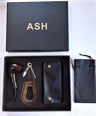 Wooden Smoking Pipe ASH Tobacco New Boxed Pouch Stand Pipe And Pipe Cleaner