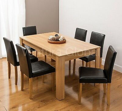 Dining Table and 4 or 6 Faux Leather Chairs Oak Walnut Furniture Room Set