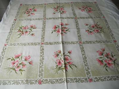 Vintage 1960's Tennyson Printed Rayon Table Cloth Pink Flowers Scrolls