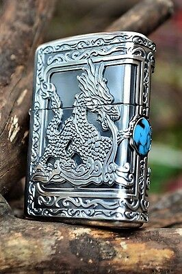 Japanese Zippo Lighter - Japan - Fire Breathing Dragon - Turquoise - ZP25379-SV