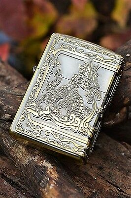 Japanese Zippo Lighter - Japan - Fire Breathing Dragon - Black Onyx - ZP25379-BS