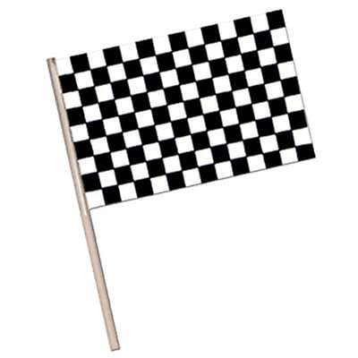 Car Racing Party Supplies -Black and White Chequered/Checkered Racing Waver Flag
