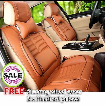 3D Cut Leather Car Seat Covers Beige Holden Toyota BMW 5 Honda CRV HRV Camry