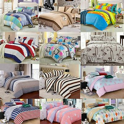 Duvet Cover with Pillow Case Quilt Cover Bedding Set All Size Double Single King
