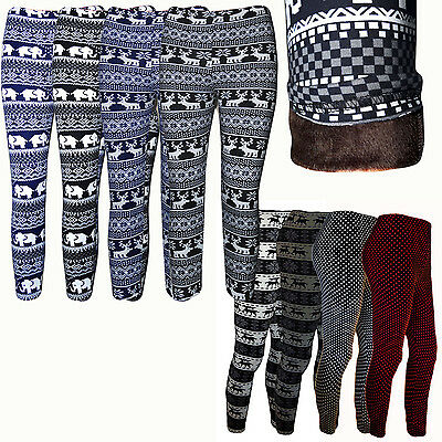 Kinder Fell gefüttert Warm Winter Leggings Thermoleggins Hose Leggins Treggings