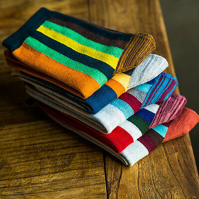 NEW 5 Pairs Mens Socks Lot Cotton Knit Warm Rainbow Striped Casual Dress Socks