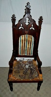 Antique Oak Masonic Gothic Knight Arm Chair Arts & Crafts Carved