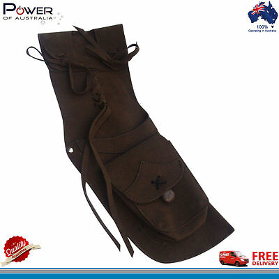 Traditional Archer Suede Leather Quiver, Longbow Arrow R/H, Light Weight Quiver