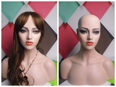 Skintone Female Fiberglass Mannequin Head Bust For Wig, Jewelry And Hat Display