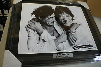 Rolling Stones Keith Richards & Mick Jagger Framed 16X20 B/w Photo Custom Frame