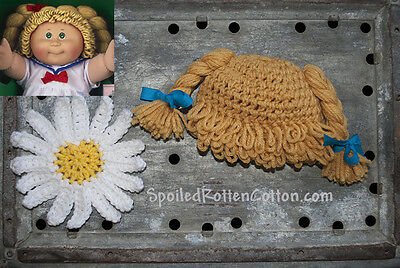 6530195993d Cabbage Patch Kid Crochet Hat Wig DK Blonde Braids Infant Toddler Adult CPK