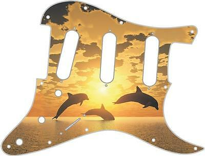 Stratocaster Pickguard Custom Fender SSS 11 Hole Guitar Pick Guard Dolphin Sun