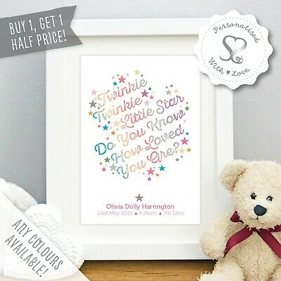 Personalised Baby Print Birth Details Twinkle Little Star Nursery Art Picture